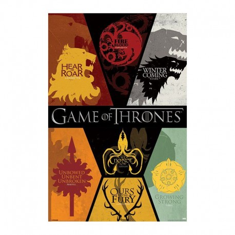 Juego de tronos p ster gigante emblemas casas por solo 22 - Juego de tronos casas ...