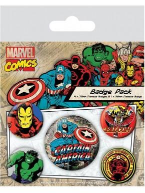 Capitán América Chapas Retro