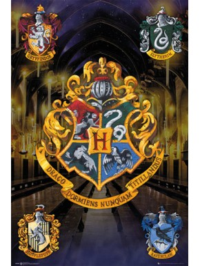 Poster Harry Potter escudos casas