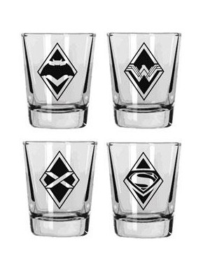 Set 4 mini vasos logos Batman v Superman