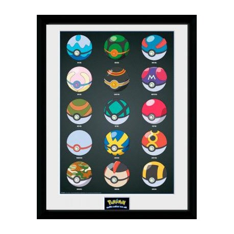 Cuadro Enmarcado Pokemon Pokeball solo 24.50 € - lafrikileria.com