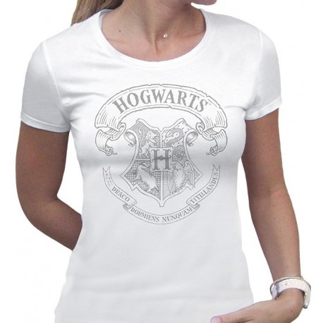 Camiseta chica Harry Potter Hogwarts white