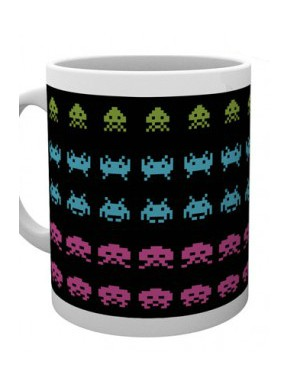 Taza Space Invaders dark