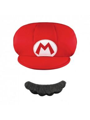 Kit bigote y gorra niños Super Mario