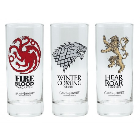 Pack tres vasos cristal Juego de Tronos