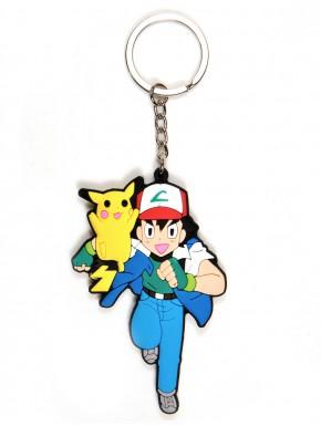 Llavero Caucho Pokemon Ash y Pikachu