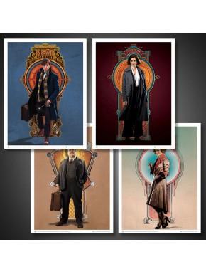 Set 4 Láminas Animales Fantasticos Personajes