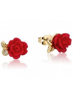 Pendientes oro La Bella y la Bestia Rosa Encantada Roja