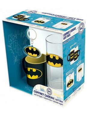 Set de regalo Batman Logo Taza + Vaso + Llavero