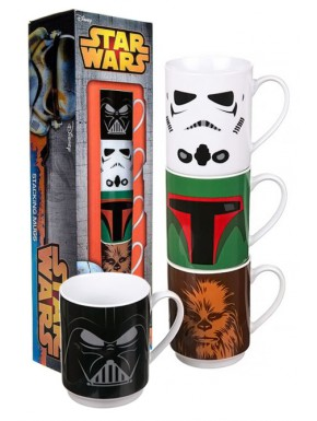 Set 4 mini tazas Star Wars Personajes