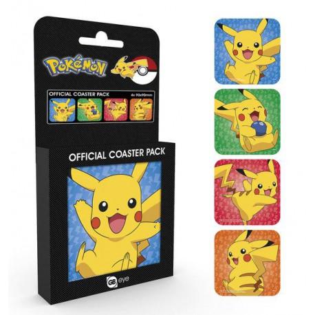 Set 4 posavasos corcho Pikachu Pokemon