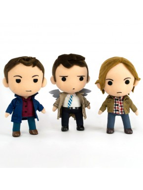 Pack 3 Peluches Supernatural Sam, Dean, Castiel Q-Pals 21 cm