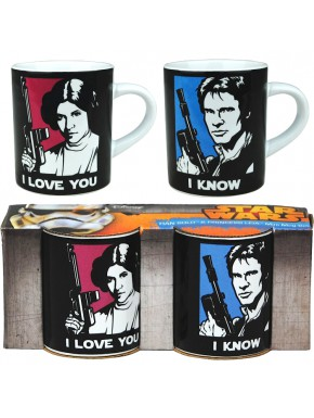 Set 2 mini tazas Star Wars I love you I know