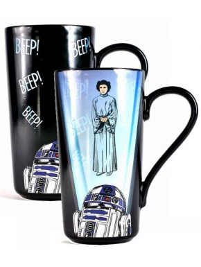 Taza térmica R2-D2 y Leia Star Wars