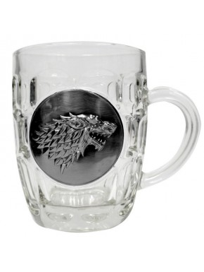 Jarra de Cerveza Stark cristal y metal Juego Tronos