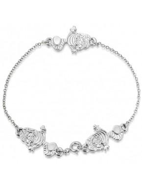 Pulsera oro blanco Gato Cheshire Alicia Disney