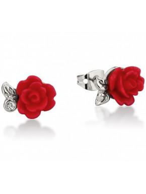 Pendientes oro Blanco La Bella y la Bestia Rosa Encantada Roja