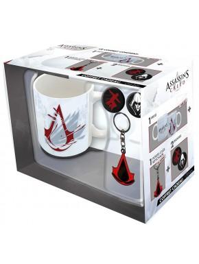Pack regalo Assassins Creed Taza + Llavero + Chapas Logo