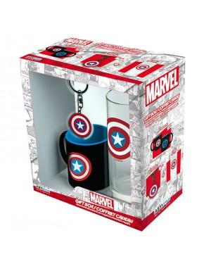 Pack regalo Capitán América Taza + Llavero + Vaso