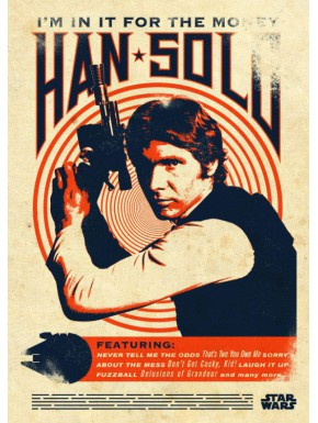 Poster metálico Star Wars Han Solo 10 x 14 cm Ed. Limitada