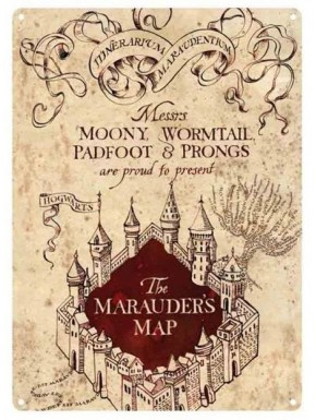 Placa Metal Mapa del Merodeador Harry Potter