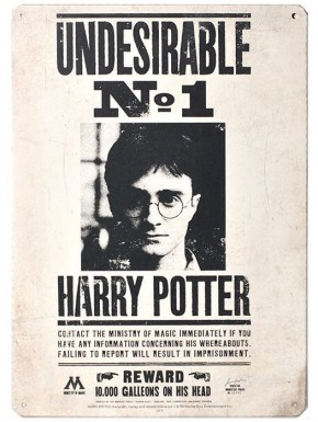 Placa Metal Undesirable Nº1 Harry Potter