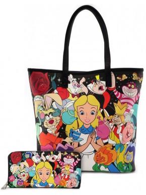 Pack Bolso + Cartera Loungefly Alicia en País de las Maravillas Disney
