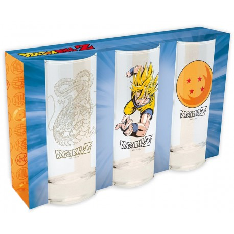 Pack tres vasos cristal Dragon Ball Z