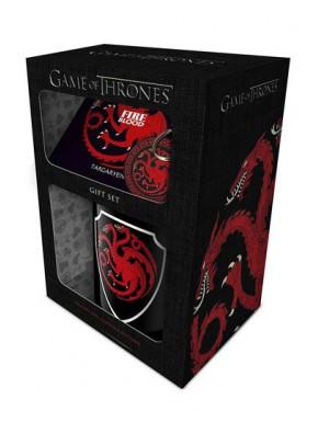 Pack regalo Targaryen Taza + Llavero + Posavasos Juego de Tronos