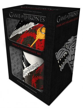 Pack regalo Stark & Targaryen Taza + Llavero + Posavasos Juego de Tronos
