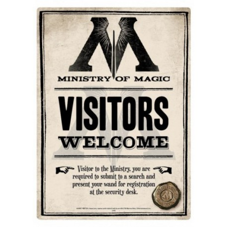 Placa Metal Ministry of Magic Harry Potter