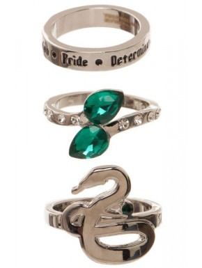 Set de 3 anillos Slytherin Harry Potter