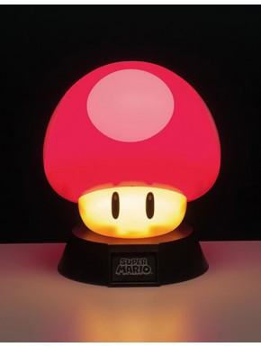 Mini Lámpara Super Mario Súper Champiñón Rojo 10 cm