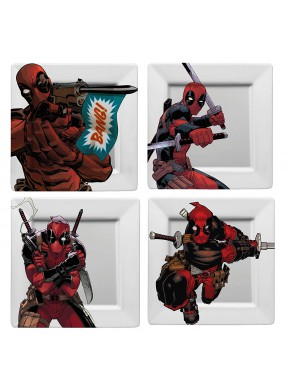 Set de 4 Platos Deadpool Marvel