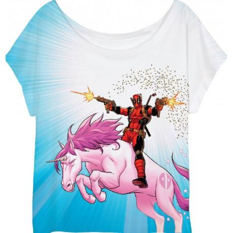 Camiseta Chica Deadpool Unicornio Marvel