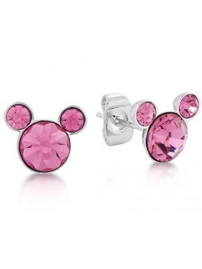 Pendientes Plata de Ley y Cristal Swarovski Rosa Mickey Mouse Disney