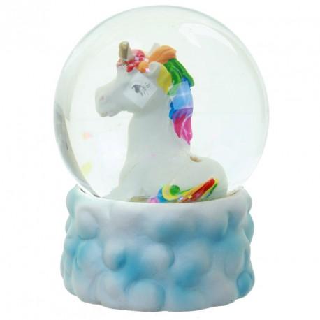 Bola de Agua con Nieve Unicornio con Arco Iris sobre Nube