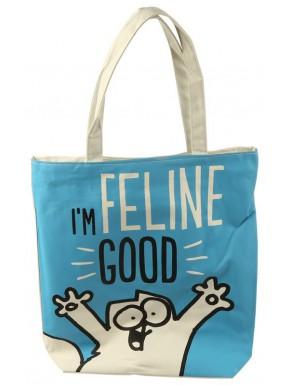 Bolsa de Algodón Simon's Cat con cremallera I'm Feline Good