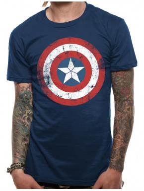 Camiseta Capitán América Marvel Escudo Wasted