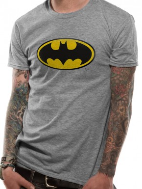 Camiseta Batman Logo Clásico Gris