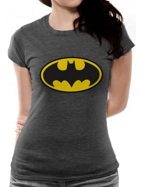 Camiseta Chica Logo Batman classic Gris