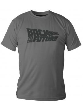 Camiseta Regreso al Futuro Logo Gris
