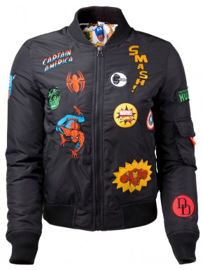 Chaqueta Bomber Chica Marvel Parches