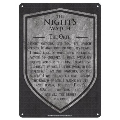 Placa Metal Nights Watch Juego de Tronos