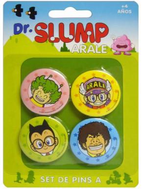 Chapas Dr Slump Arale Personajes Set de 4