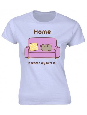 Camiseta chica Pusheen Home is where my Butt is