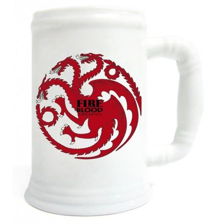 Taza cerveza cerámica Targaryen blanca y roja