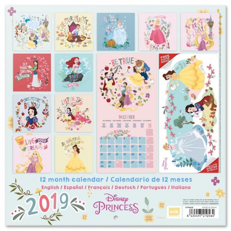 Calendario 2019 Disney Para Imprimir.Calendario Pared 2019 Princesas Disney Por 11 90