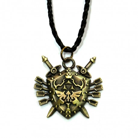 Colgante Zelda bronce Hyrule espadas