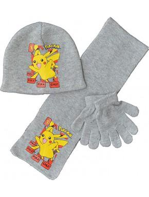 Conjunto invierno niño Pikachu Gris